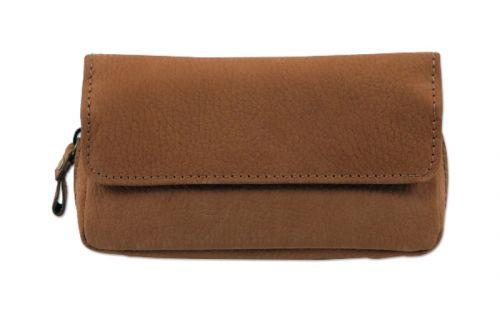 pfeifenshop: Pfeifentasche aus Leder für 2 Pfeifen - braun (16x9x5,5cm)