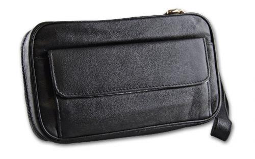 pfeifenshop: Pfeifentasche aus Lamm Nappa Leder für 4 Pfeifen - schwarz, mit Trageschlaufe