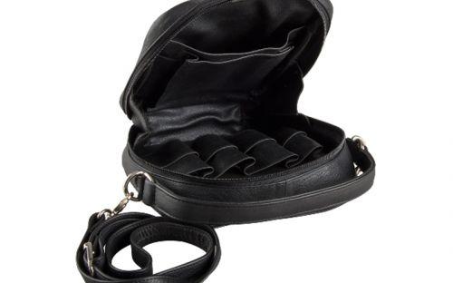 pfeifenshop: Pfeifentasche aus Leder für 8 Pfeifen - schwarz (22,5x21,5x7cm)