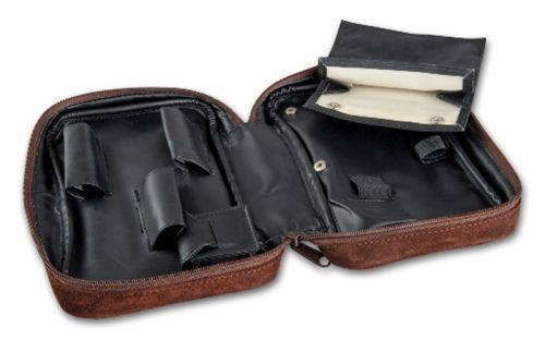pfeifenshop: Pfeifentasche aus Wildleder für 3 Pfeifen - braun  (22x14x6cm)