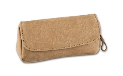 pfeifenshop: Pfeifentasche für 1 Pfeife - hellbraun Nubukleder (16x9x4cm)