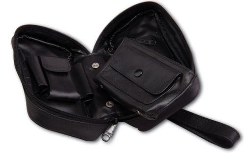 pfeifenshop: Pfeifentasche aus Leder für 2 Pfeifen - schwarz (18x9cm)