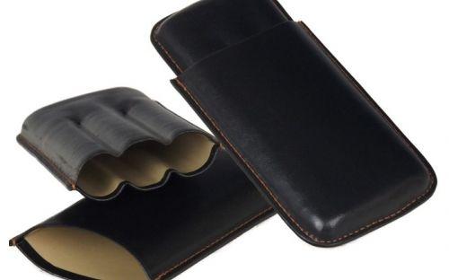 pfeifenshop: Zigarrenetui 3er - schwarz (Robusto)