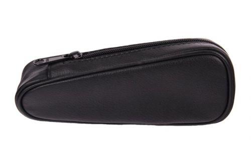pfeifenshop: Pfeifentasche aus Leder für 1 Pfeife - schwarz, Pfeifenförmig