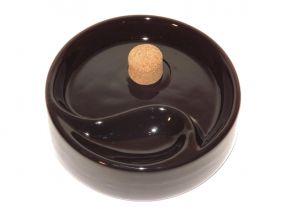 pfeifenshop: Pfeifen Aschenbecher für 1 Pfeife - schwarz Keramik, rund