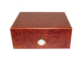 pfeifenshop: Humidor - Braun, Wurzelnholz-dekor, spanischer Zeder, für 40 Zigarren