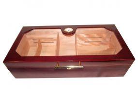 pfeifenshop: Gastrohumidor - bordeaux, mit Glasdeckel, spanischer Zeder, für 150 Zigarren