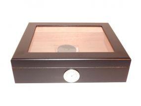 pfeifenshop: Humidor - Schwarz, Glasdeckel, spanischer Zeder, für 30 Zigarren