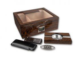 pfeifenshop: Humidor mit GeschenkSet - Braun, spanischer Zeder, für 50 Zigarren