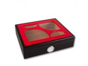 pfeifenshop: Humidor - 26x22x7cm, rot Glasdeckel