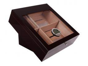 pfeifenshop: Humidor - Schwarz matt, Glasdeckel, spanischer Zeder, für 80 Zigarren