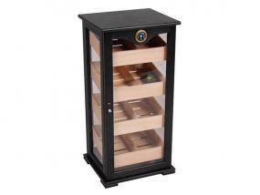 pfeifenshop: Humidorschrank - Schwarz, Glastür, spanischer Zeder, für 150 Zigarren