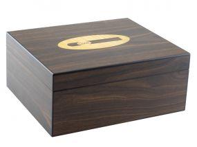 Humidor - Braun, Zigarre-dekor, spanischer Zeder, für 50 Zigarren