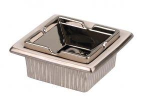 pfeifenshop: Zigarrenaschenbecher Keramik weiss/silber