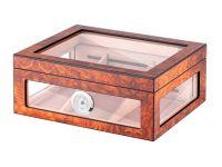 pfeifenshop: Humidor - hellbraun, Glasdeckel, spanischer Zeder, für 80 Zigarren