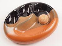 pfeifenshop: Pfeifen Aschenbecher für 2 Pfeifen - 3-farbige Keramik