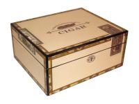 pfeifenshop: Humidor - hellbraun-lackiert, spanischer Zeder, für 30 Zigarren